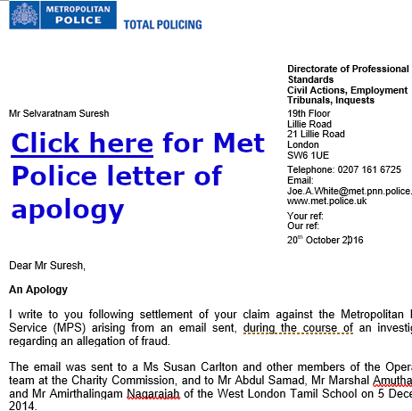 Defamation claim against the Met Police